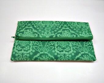 Fold Over Clutch in Green Scroll