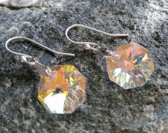 Crystal Earrings, Austrian Crystal Earrings, Aurora Borealis Swarovski Octagon Shaped Holiday Everday Sparkle Drop Dangle Earrings for her
