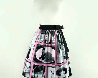 On Sale!!!Audrey Breakfast at Tiffanys Vintage Inspired Pinup Pleated Skirt