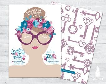 secret garden birthday invitation, garden party invitation, fairy enchanted garden birthday invitation