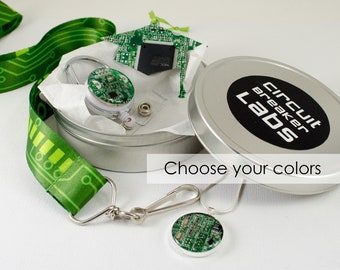 Circuit Board Graduation Gift Set, Grad Cap Ornament, Retractable Badge Holder, Necklace, Lanyard, Geeky Office Professional Engineer Gift