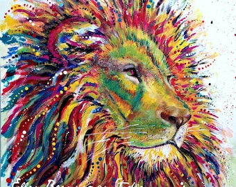 Lion: safari nursery decor nursery art home decor kids room decor nursery prints totem nursery animal print Leo gift idea