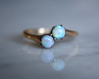 ANTIQUE 10K OPAL Victorian era rose gold moi et toi vintage bypass engagement ring circa 1880s size 6