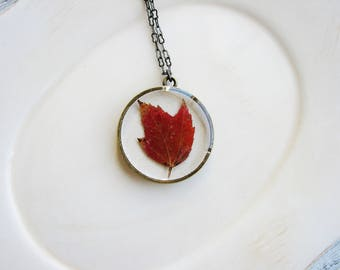 Red Maple Leaf Necklace, Fall Jewelry, Pressed Flower Jewelry, Resin Jewelry, Leaf Jewelry,  Nature Jewelry