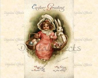 VINTAGE EASTER POSTCARD, Ellen Clapsaddle, Instant Digital Download, Easter Postcard, Vintage Easter Card, Printable Cards