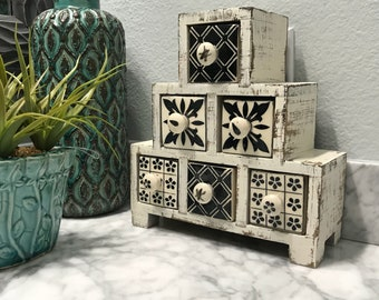 Apothecary Spice Cabinet Black & White with 6 Ceramic Drawer Herb Storage Box Distressed Farmhouse Country Cabinet Item #606745735