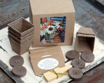 Wildflower Garden Kit, Wildflower Seeds, Garden Gift Set, Seed Starting Supplies in Gift Box, Mother's Day Gift or Gift for Gardener