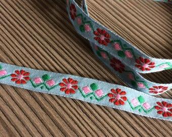1 meter Vintage blue trim pink red flowers 11mm folk pattern