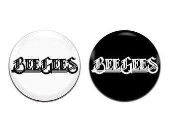 2x Bee Gees Band Disco Pop 25mm / 1 Inch D Pin Button Badges