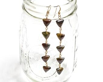 Red Tigers Eye Earrings / Triangle Stone Drop Earrings / Wire Wrapped Gold Fill Dangles / Gemstone Drop Gypsy Dangles / Stone Earrings