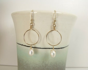 Small 14kt Gold Filled Hoops with White Freshwater Pearl