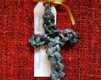 Unique, Handwoven, Handcrafted, Newspsper Woven Cross, upcycled, Recycled, Eco Friendly