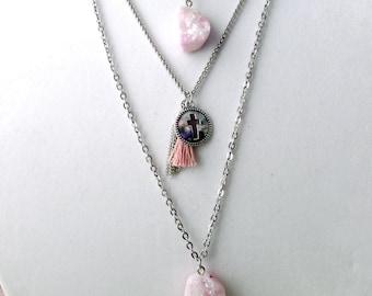 Layered Druzy Necklace - Druzy Necklace - Druzy Layered Necklace - Boho Druzy Necklace - Tassel Necklace - Genuine Druzy Necklace - Druzy