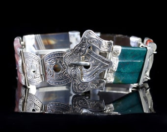 Antique Victorian Scottish Buckle Bracelet Silver Circa 1860