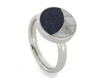 Meteorite Ring with a Starry Night Setting including a Meteorite Moon and Dark Blue Meteorite Stardust Sky, Womens and Mens Meteorite Ring