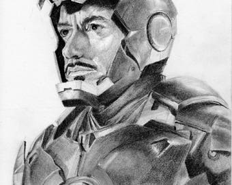 Iron Man original drawing 8.5 x12