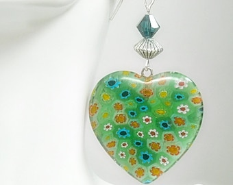 Heart Earrings - Vintage Mint Green Millefori Glass Heart Dangle Earrings - Heart Jewelry - Mothers Day - Floral - Hippie