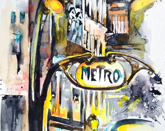 Paris Inspired Giclee Art Print, Parisian Cityscape Watercolor Painting, Lana Moes Art, Vintage Interior, Artistic Home Decor, Art Deco