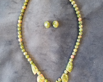 Unakite Necklace and Earring set