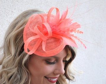 Coral Fascinator, Tea Party Hat, Church Hat, Kentucky Derby Hat, Fancy Hat, Pink Hat, Wedding Hat, British Hat, Coral Hat