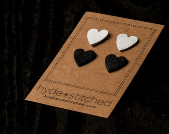 Black and White: heart shaped leather earring set, two pair of leather heart stud earrings, handmade leather jewelry