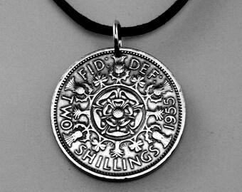tudor rose ENGLAND coin necklace  jewelry pendant.  2 shilling . coin jewelry. shamrock. leek.  british english uk  No.00265