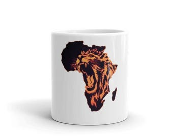 Africa Lion Roaring Mug made in the USA