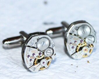 Steampunk Cufflinks BULOVA - Petite Oval Vintage Silver 17 Rubies Watch Movement - 100% Matching Men Steampunk Cufflinks / Cuff Links Gift