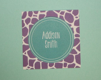 Giraffe Print Personalized Enclosure Cards / Stickers- Purple and Teal