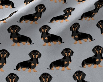 Wiener Dog Fabric - Doxie Dachshund Wiener Dog Pet Dog Grey Sweet Dogs By Petfriendly - Weenie Cotton Fabric By the Yard With Spoonflower