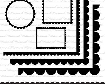 Scallop frame clip art circle frame square scallop ornate frame cute black and white : e0165 3s4950
