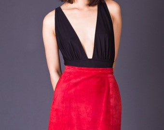 SALE 50% OFF 80s Vintage Suede Pencil Skirt in Red