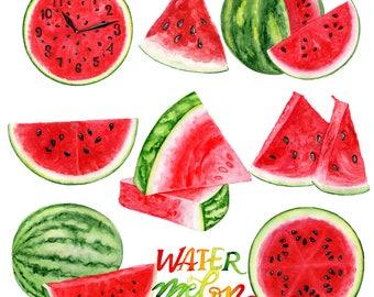 Watermelon Clip art, Summer Clipart Watercolor Fruit Clip art, Scrapbook Supplies, DIY Set Invitation, Planner Stickers Instant Download