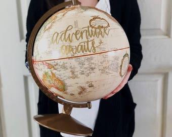 Wedding Globe, Globe, Painted Globe, Hand Painted Globe, Wedding Decor, Wedding Guestbook, Custom Globe, World Globe, Travel Theme Wedding