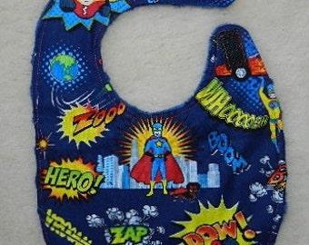 Reversible Baby Bib  Super Heroes,Navy Minky,  Baby, Drool, Feeding