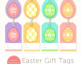 Printable Easter Tags - Easter Gift Tags - Instant Download Easter Egg Tags