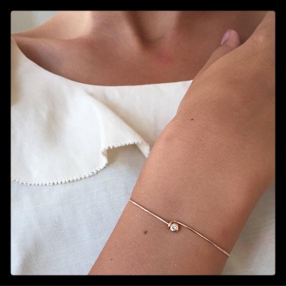 Klara Diamaond Bangle  Bracelet 14k  Gold and Diamond 0.03ct