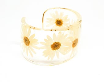 Daisy Resin Bracelet.   Wide Cuff with Personalized Engraving. Handmade Resin Jewelry.  Size Small Large XL