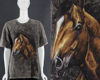 Horse T-Shirt WILD HORSES 90's Grunge T-Shirt Horse Lover Gift Vintage Mineral Wash T-Shirt Small Medium