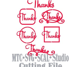 SVG Cut File Thank You Design 01 Bundle of 6 Silhouette MTC SCAL Cutting File