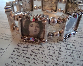 1920s Theme Photo Bracelet ~ Art Nouveau with Vintage Clippings from 1921 ~ Ready to Ship!