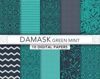 Green digital Paper,green damask paper,damask patterns,green paper,instant download - DAM008