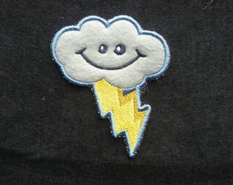 Happy Cloud Patch Embroidered Sew on Patch Patches Fabric Badge. Storm Cloud with Lightening Bolt