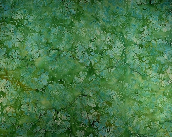 Cotton Fabric/ Batik Abstract Design/ Quilt Fabric in Green and Blue/ Batik Textile fabric