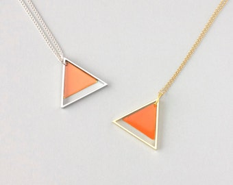 Large Two Triangle Metal Necklace (Orange) - Modern Handmade Jewellery