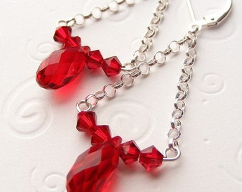 Swarovski Crystal Siam Red 'Hammock' Earrings with Teardrop Briolettes and Rolo Chain on Sterling Silver Leverbacks