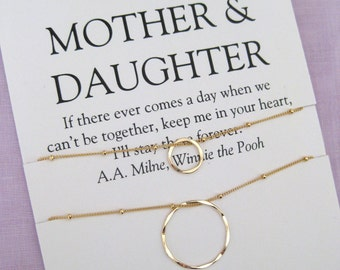 Mom Gifts, MOTHER Daughter, 60th birthday Gift Mother Daughter Necklace, Gold Eternity Necklace, Mothers day Gift, Birthday Gift for mom