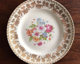 Vintage Floral and Gold Bread Plate