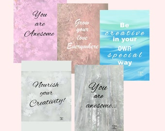 5 x INSPIRATIONAL+CREATIVITY POSTERS Digitally Painted & Instant Downloadable