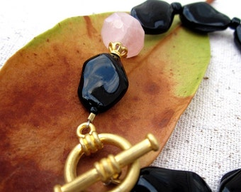 Black and Pink Glass Beaded Bracelet: Pebble WAS 15.00